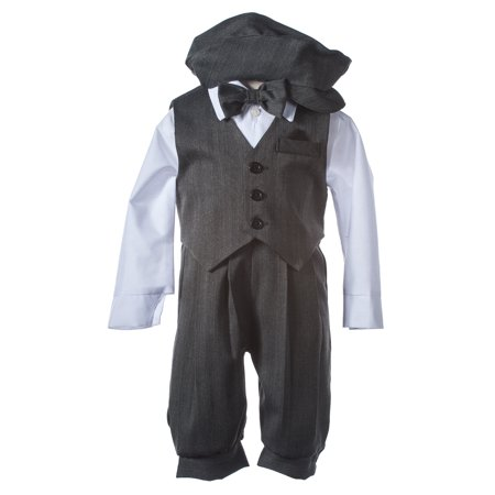 Grey Weave Knicker Set with Matching Vest and Bow Tie ()