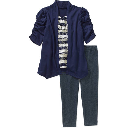 Healthtex Toddler Girl Short Sleeve Hacci Layered Tunic & Knit Denim Leggings