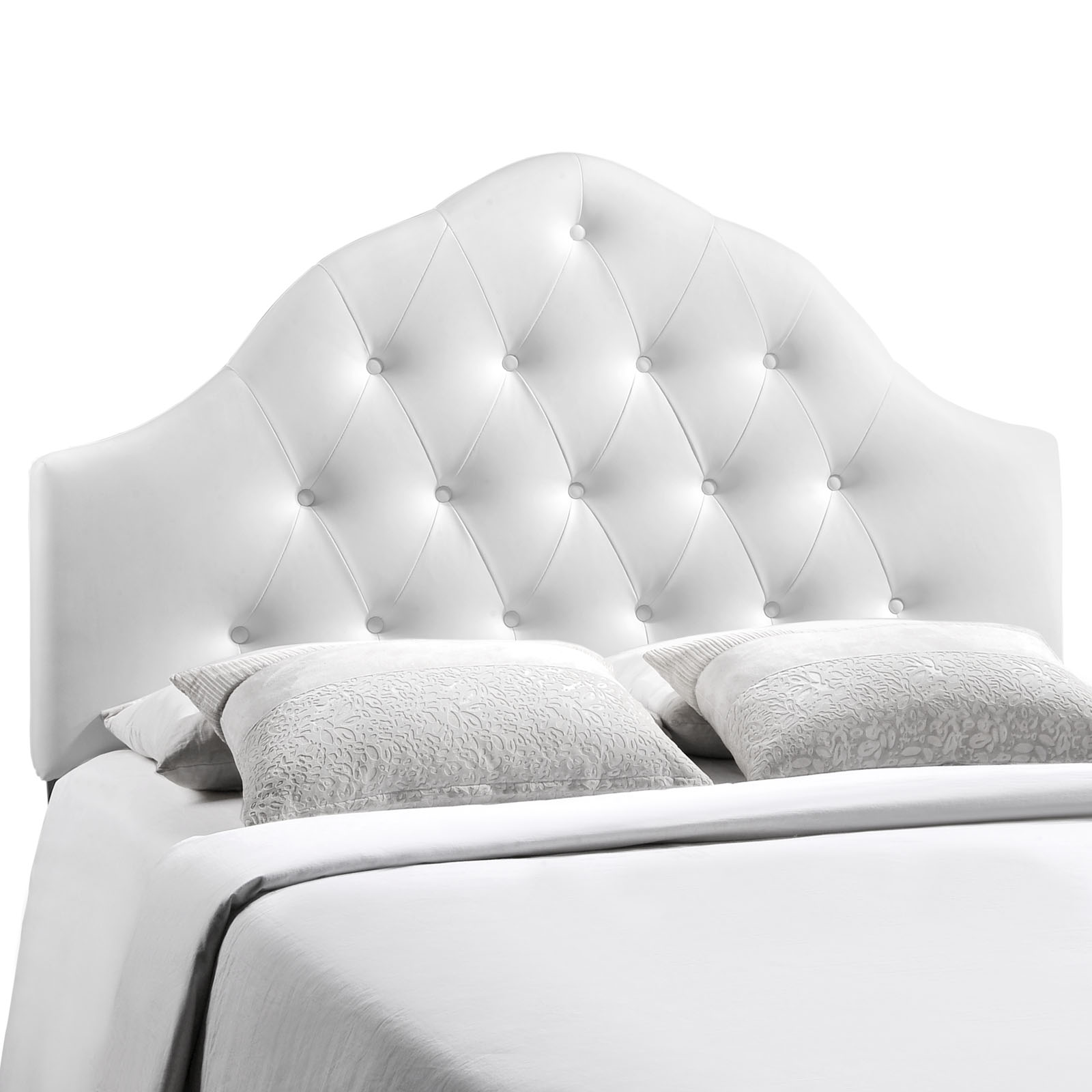 Modern Contemporary Full Size Vinyl Headboard, White Faux Leather