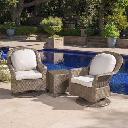 Phenomenal Linsten Outdoor Wicker Swivel Club Chairs And Side Table Set With Water Resistant Cushions Brown And Ceramic Grey Andrewgaddart Wooden Chair Designs For Living Room Andrewgaddartcom