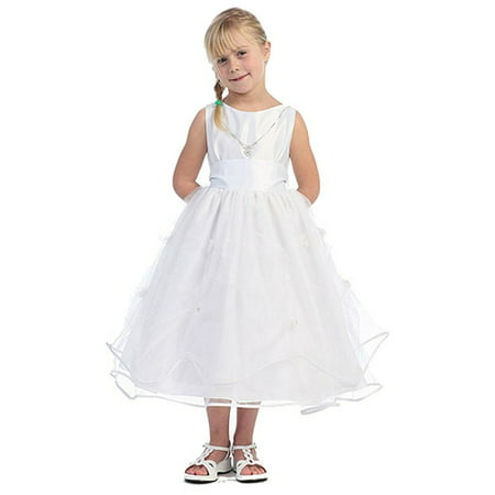 Girls White Satin Tulle Layers First Communion Pageant Dress 2T-14