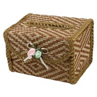 Home Office Nylon Edged Bamboo Tissue Cover Paper Holder Box Brown