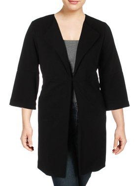 Nine West Womens Plus Stretch Bell Sleeve Topper Jacket