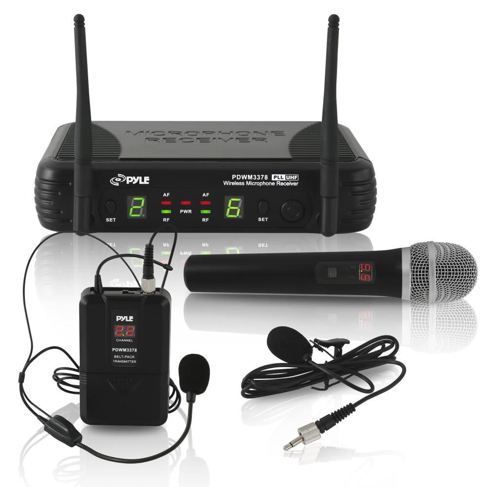 Pyle PDWM3378 UHF Wireless Microphone System Kit, Includes Handheld Mic, Headset Mic, Lavalier Mic & Beltpack by Pyle