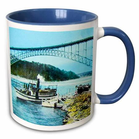 3dRose Vintage Niagara Falls Maid of the Mist Early 1900s Hand Colored - Two Tone Blue Mug, 11-ounce