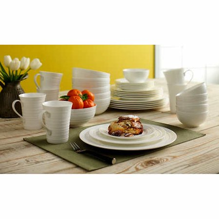 Florentine Bone China - Mikasa Swirl White 36-piece Bone China Dinnerware Set