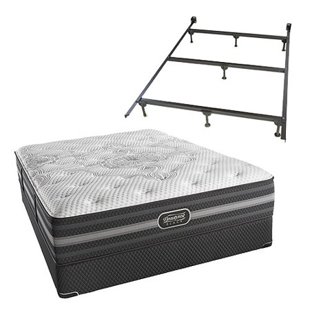 desiree twin xl size plush mattress and standard box spring set with frame beautyrest black. Black Bedroom Furniture Sets. Home Design Ideas