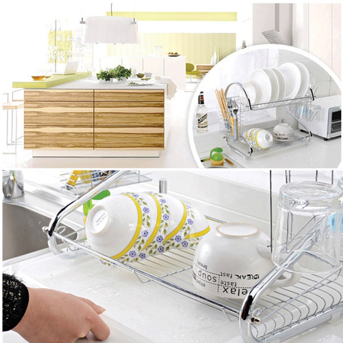 dish drying rack holder sshaped home kitchen bowl cup chopstick sink drainer 2 tier dryer stainless steel matcc us walmartcom