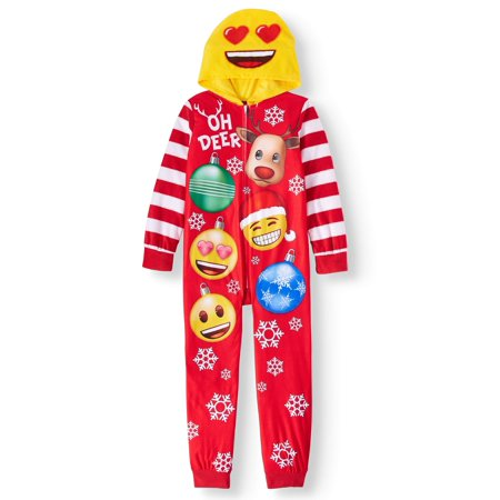 Emoji Girls' Onesie Sleeper Pajama - Emoji For Girls