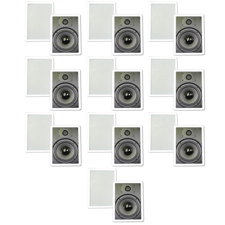 """Theater Solutions TS80W In Wall 8"""" Speakers Surround Sound Home Theater 10 Pair Pack 10TS80W by"""