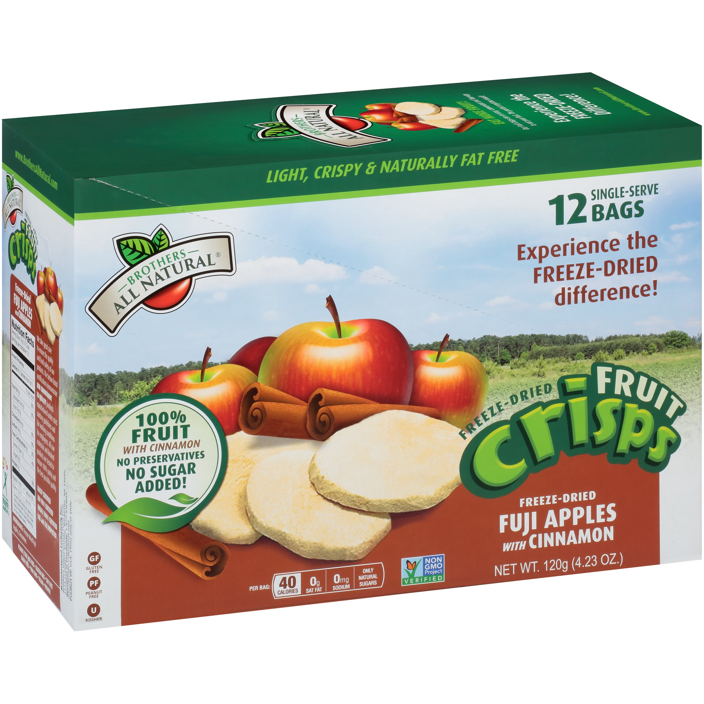 Brothers All Natural® Freeze-Dried Fuji Apples with Cinnamon Fruit Crisps 4.23 oz. Box