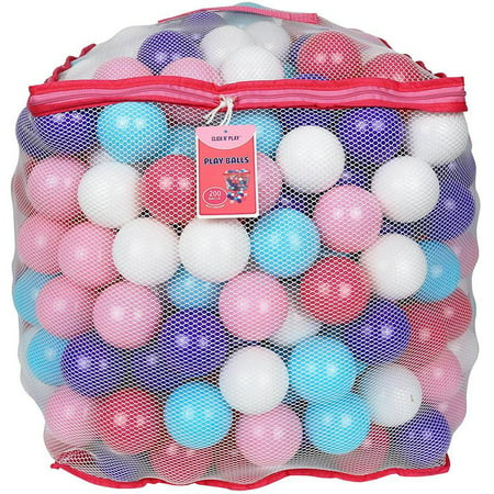 Click N' Play Value Pack of 200 Crush Proof Plastic Play Balls, Phthalate Free BPA Free, 5 Pretty Feminine Colors in Reusable Mesh Storage Bag with Zipper-