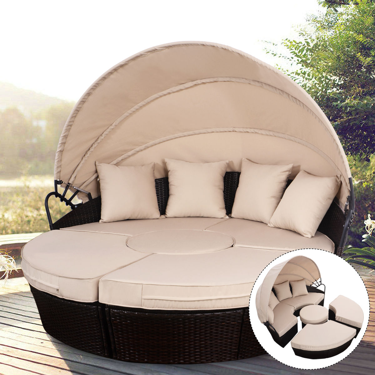 costway outdoor mix brown rattan patio sofa furniture round retractable canopy daybed