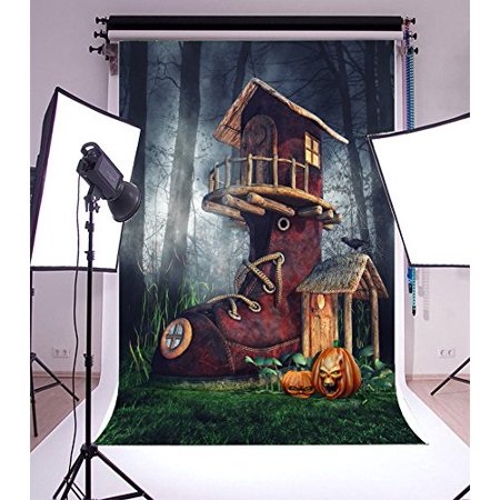 GreenDecor Polyester 5x7ft Backdrop Photography Background Fantasy Shoe House Halloween Pumpkins Dark Spooky Forest Hazy Misty Trees Scene Newborn Baby Kids Chi (Spooky Halloween Forest Backgrounds)