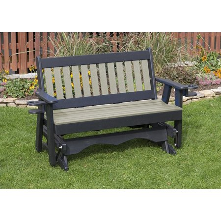 Outdoor Garden Exterior Weathered Wood Finish 4Ft-Poly Lumber Mission Everlasting Amish Crafted Porch Glider With Cupholder