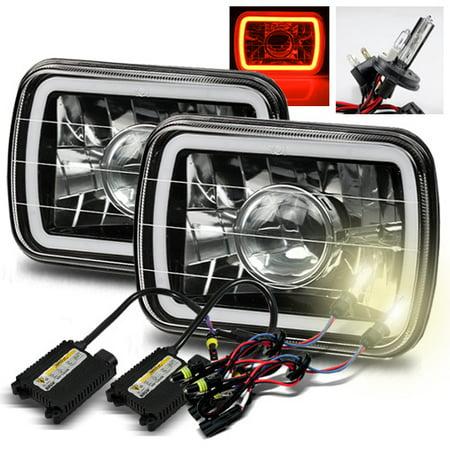 Modifystreet® 4300K H4-2 HID + Hi-Power Red LED 3D-Halo Tube  H6014/H6052/H6054 7x6 Semi-Sealed Beam Projector Headlights Conversion Kit  - Black