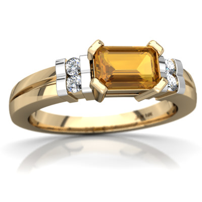 Citrine Art Deco Ring in 14K Yellow Gold by