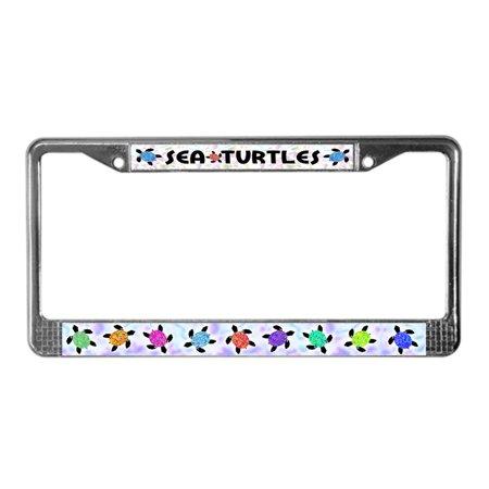 CafePress - Sea Turtles - Chrome License Plate Frame, License Tag Holder (Sea Animal License Plate Frame)