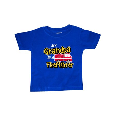 My Grandpa is a Firefighter with Fire Truck Baby T Shirt