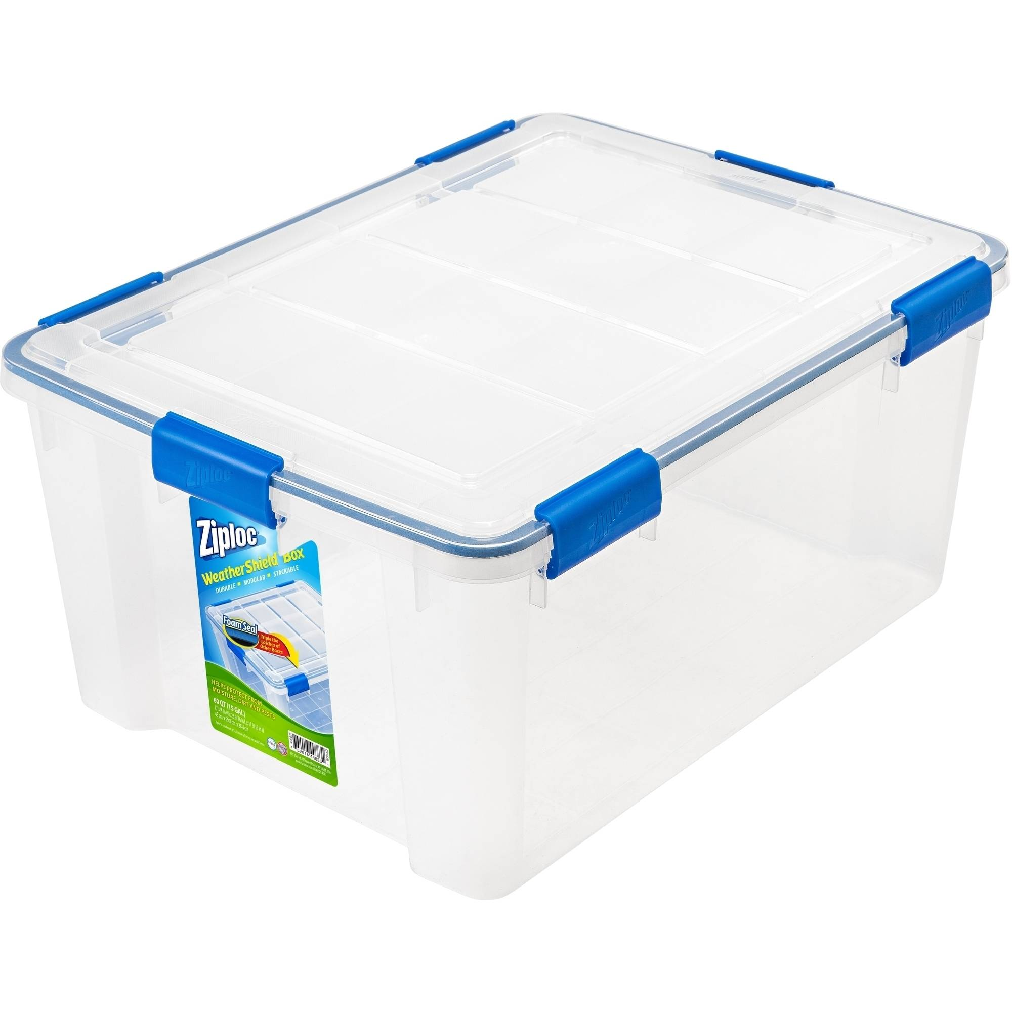 Ziploc 60 qt WeatherShield Storage Box, Clear