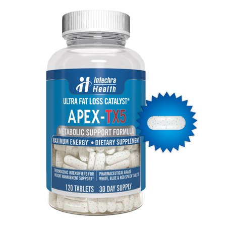 Apex Fat Burn (APEX-TX5 Ultra Fat Loss Catalyst with Powerful Appetite Suppressants - 120 White Blue & Red Speck Tablets Manufactured in the USA in a GMP Certified Highest Quality Lab)