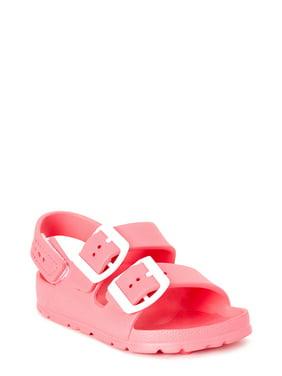 First Steps by Stepping Stones Buckle EVA Footbed Slide Sandal (Toddler Girls)