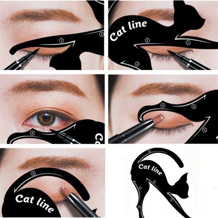 Girl12Queen 1Pair Cat Eyeliner Guides Easy Quick Makeup Tool Eye Liner Stencils Templates (Simple Eyeliner Halloween Makeup)