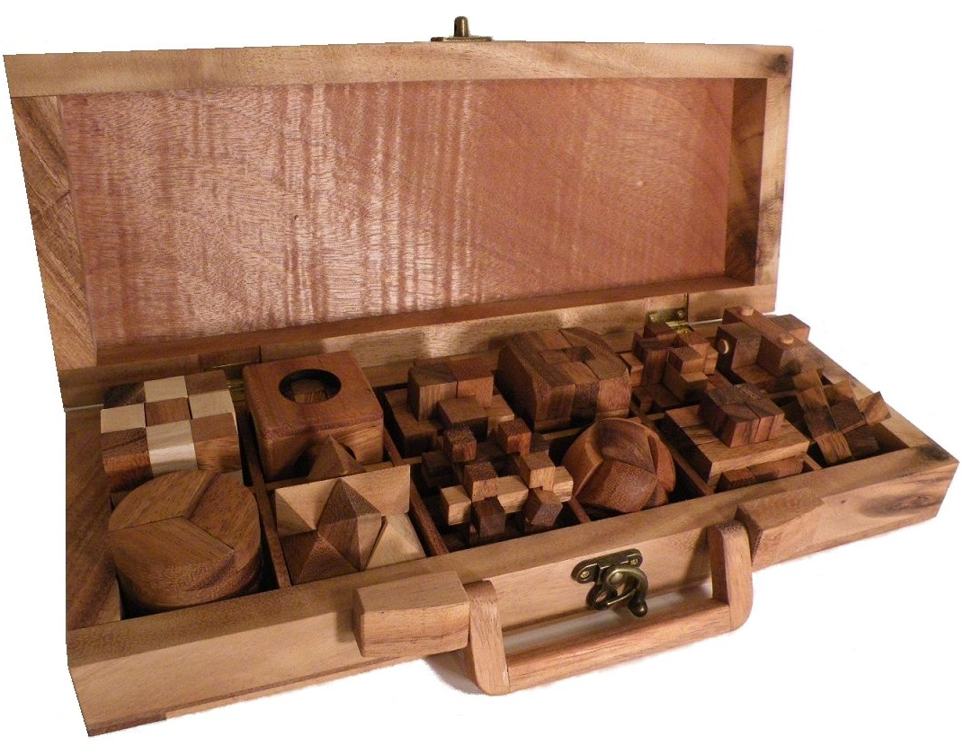 12 Wooden Puzzles Set In Wooden Suitcase by