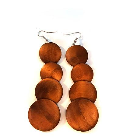 Brown Wood Bohemian Circle Dangle Earrings Layered Drop Earrings 3.5 in (Brown Drop Earrings)