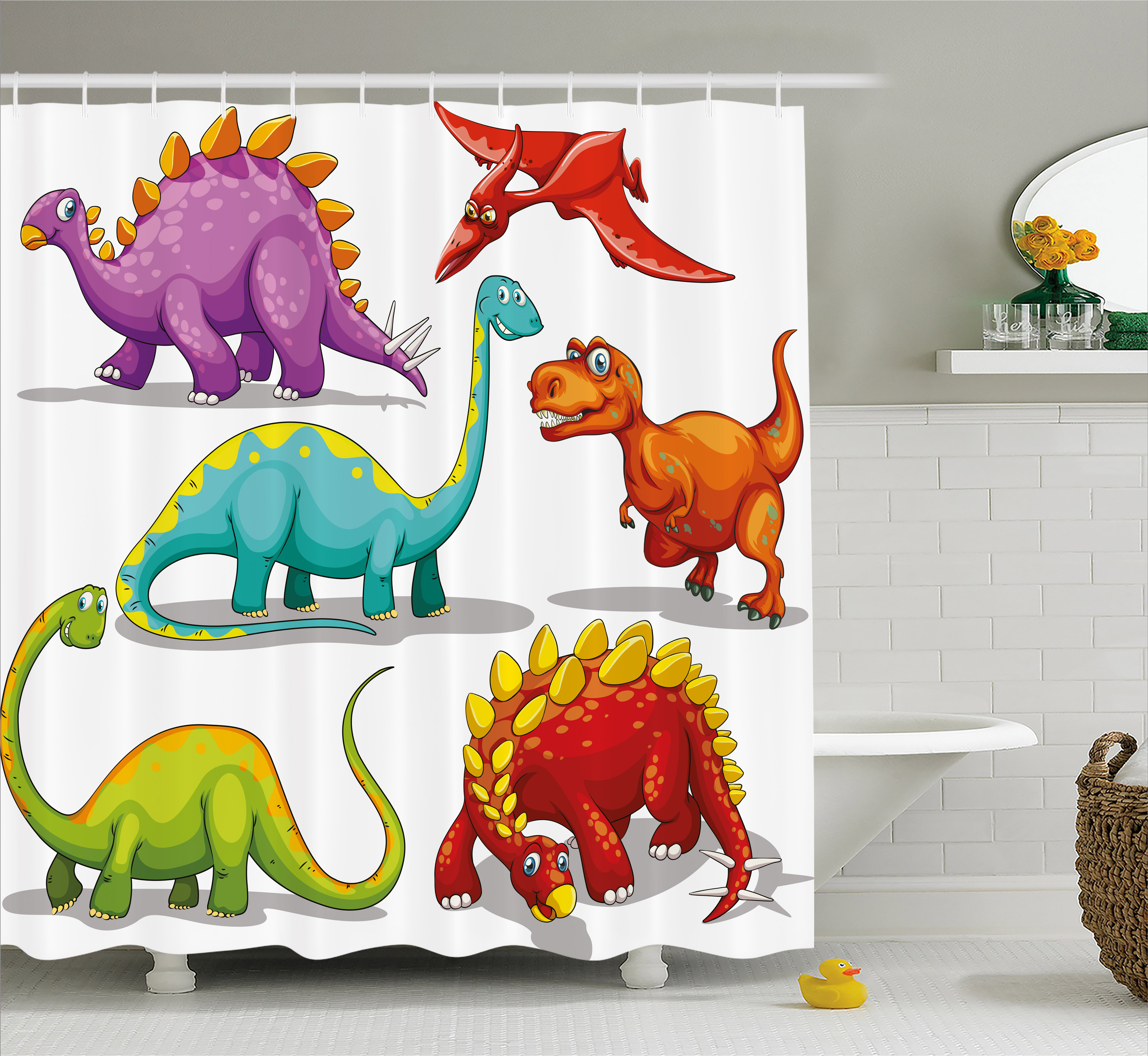 Dinosaur Shower Curtain Colorful Funny Different Dino