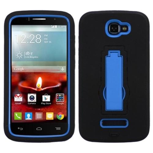 Insten Hard Dual Layer Rubberized Silicone Cover Phone Case w/stand For Alcatel One Touch Fierce 2 7040T - Black/Blue
