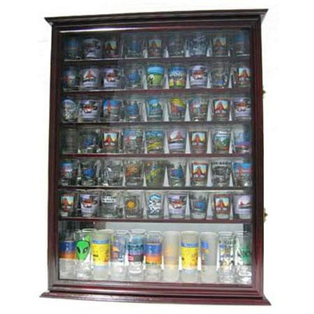 Large 72 Shot Glass Display Case Cabinet Rack Holder Glass