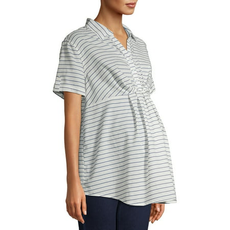 Time and Tru Maternity Short Sleeve Striped Woven Top with Twist Detail Twist Detail Top
