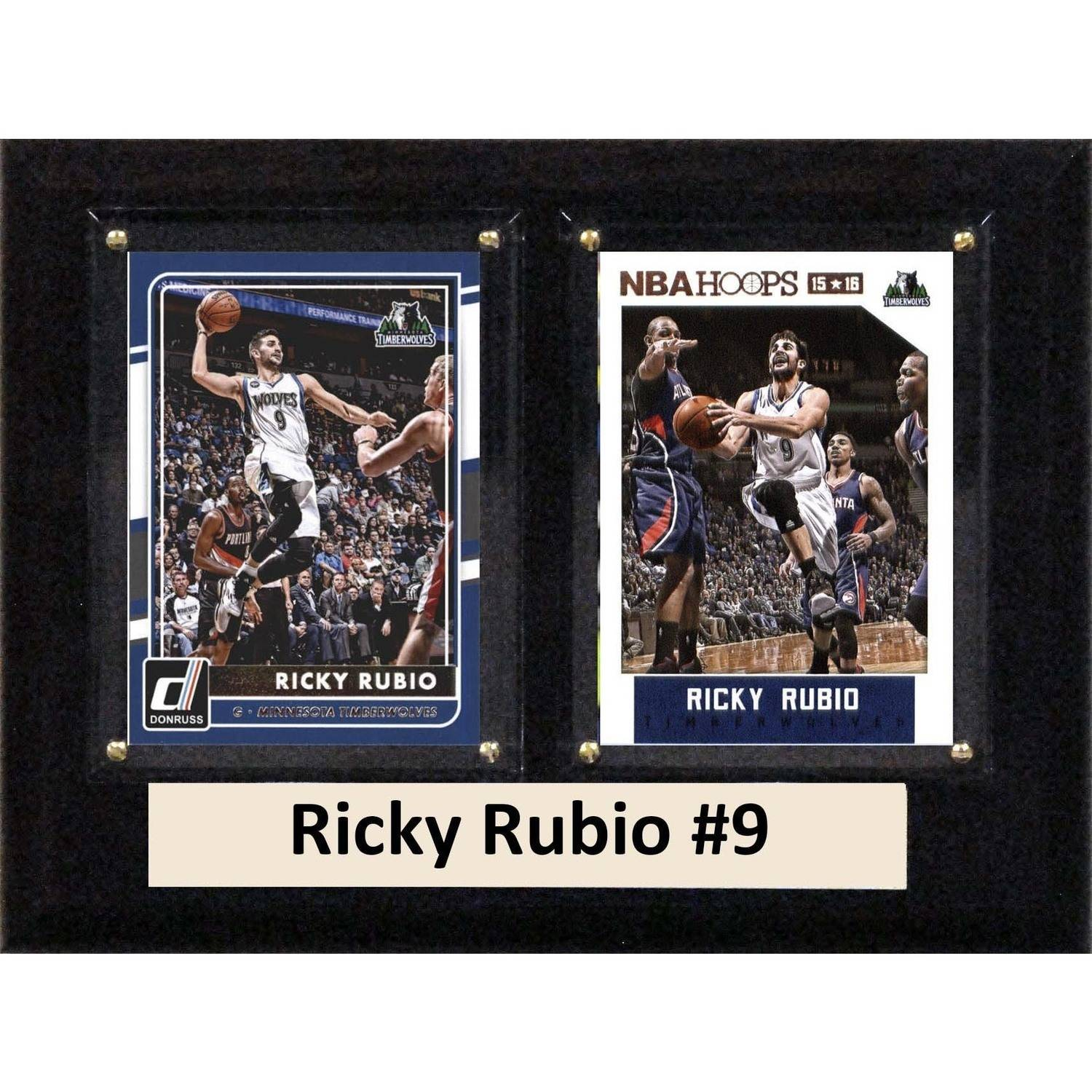 "C & I Collectables NBA 6"" x 8"" Ricky Rubio Minnesota Timberwolves Two-Card Plaque"