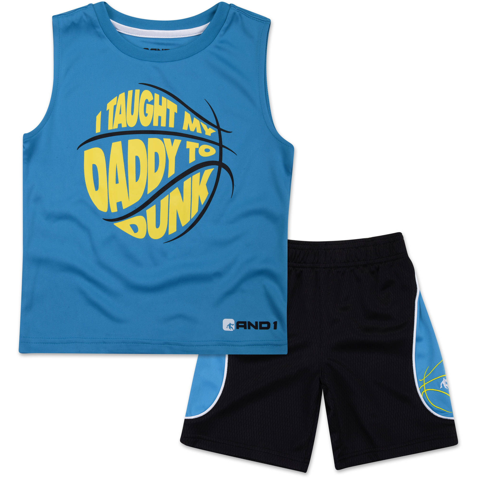 "And1 Baby Toddler Boy ""I Taught My Daddy To Dunk"" 2 Pc Tee & Shorts Outfit Set"