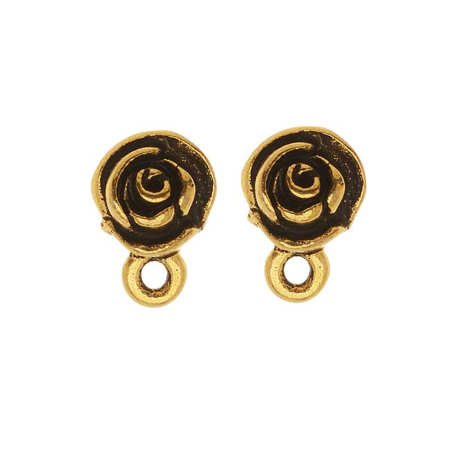 22K Gold Plated Pewter Stud Post Earrings Rose 11mm
