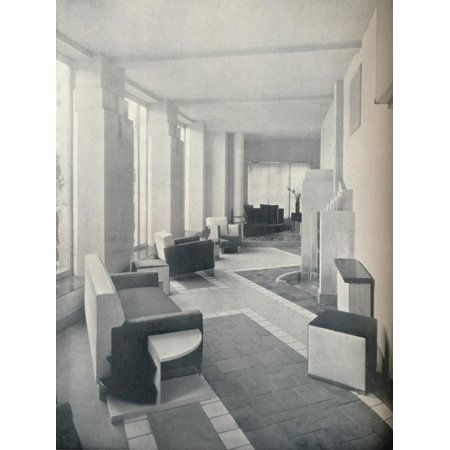 'View of the Sun Room in daylight, showing the three windows and columns', 1930 Print Wall