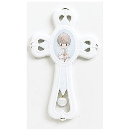 Communion Boy Wall Cross 646431, Each Piece Is Porcelain Bisque; Hand Sculpted and Hand Painted By Precious Moments Communion Boy Wall Cross