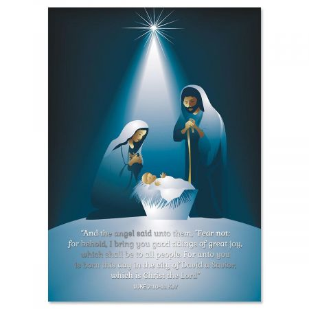A Savior Has Been Born Foil Christmas Cards - Set of 14