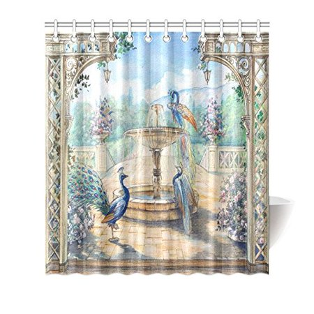 GCKG Floral Watercolor Peacocks Shower Curtain Hooks 66x72 inches Colorful Fabric Watercolor Peacocks in A Spring European Garden with Fountains & Flowers - image 3 de 3