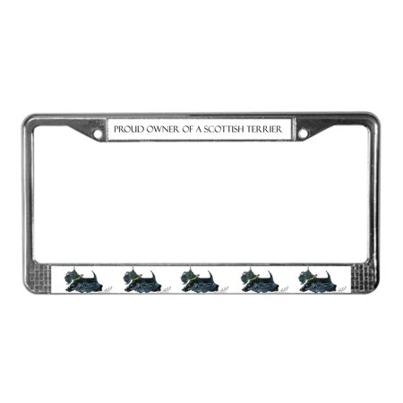 CafePress - Laughing Scottish Terrier - Chrome License Plate Frame, License Tag Holder