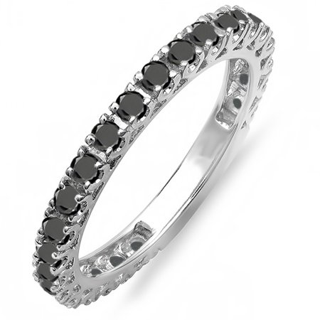 - Dazzlingrock Collection 0.90 Carat (ctw) 18K Round Black Diamond Eternity Sizeable Wedding Band, White Gold, Size 7