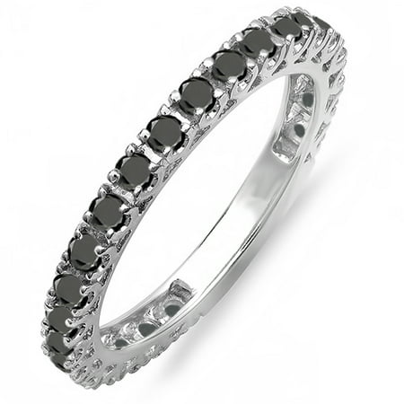 Dazzlingrock Collection 0.90 Carat (ctw) 18K Round Black Diamond Eternity Sizeable Wedding Band, White Gold, Size 7