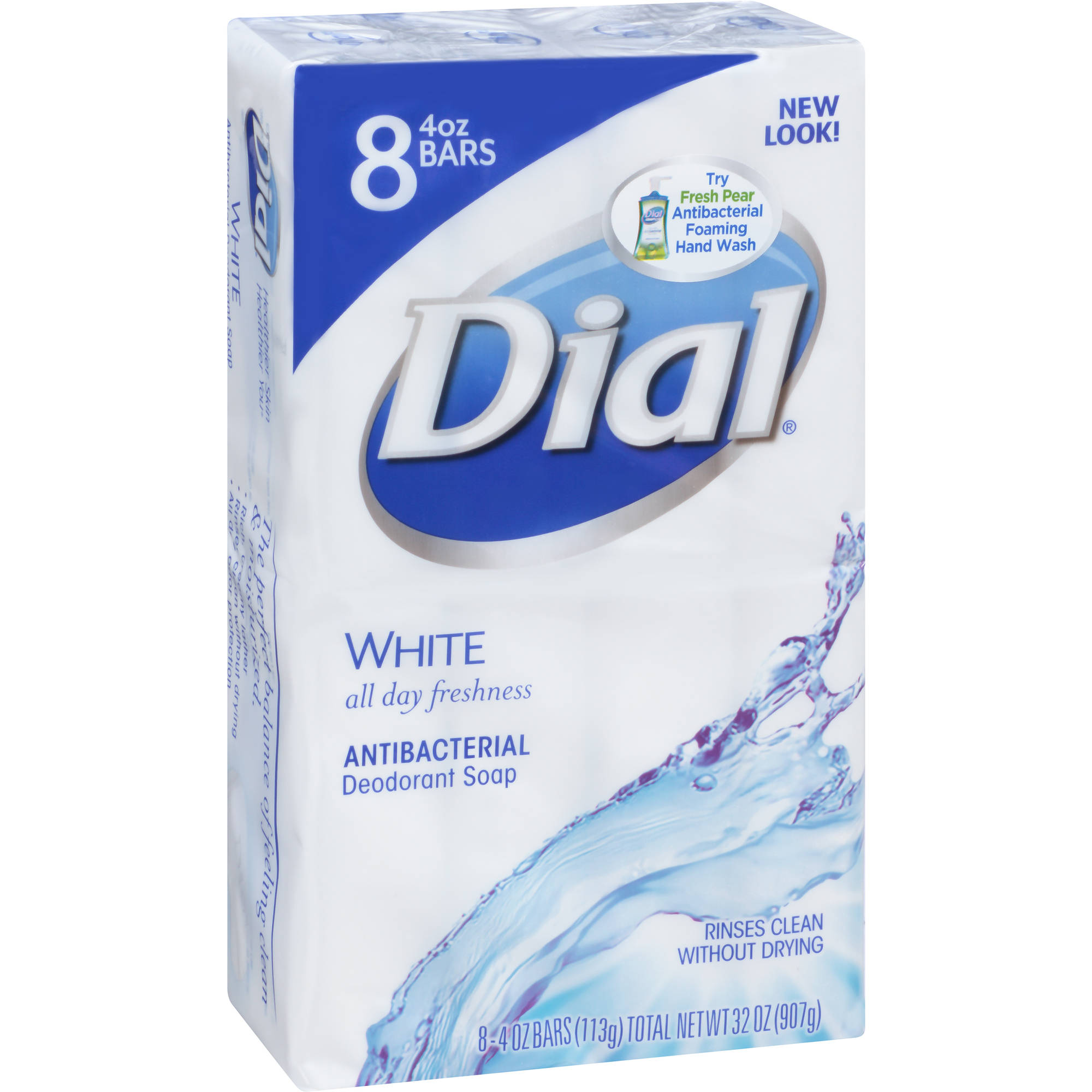 Dial Bar Clean and Refresh White Antibacterial Deodorant Soap Bar, 8ct