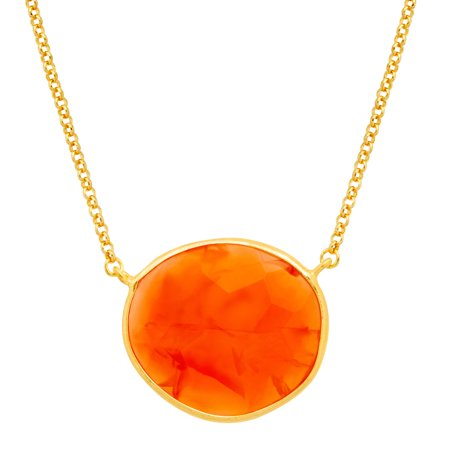Piara 14 ct Natural Carnelian Necklace in 18kt Gold-Plated Sterling Silver