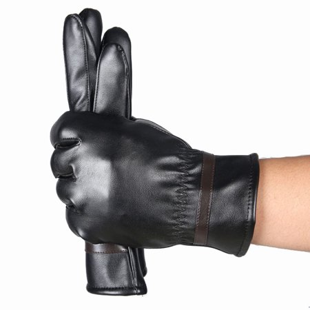 New Fashion Warm Cashmere Leather Male Winter Gloves Driving Waterproof For Men