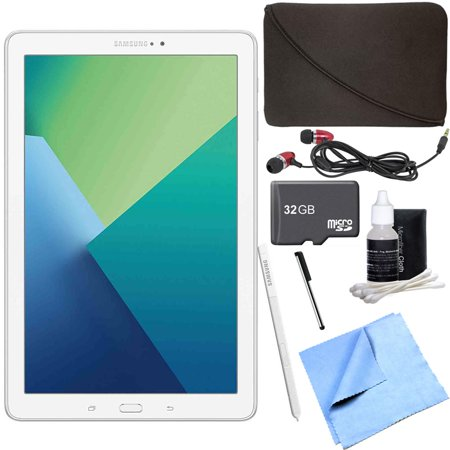 White Stylus - Samsung Galaxy Tab A 10.1 Tablet PC White w/ S Pen 32GB Bundle includes Tablet, 32GB MicroSD Card, Microfiber Cloth, Cleaning Kit, Stylus Pen with Clip, Hard EVA Case with Zipper for Tablets