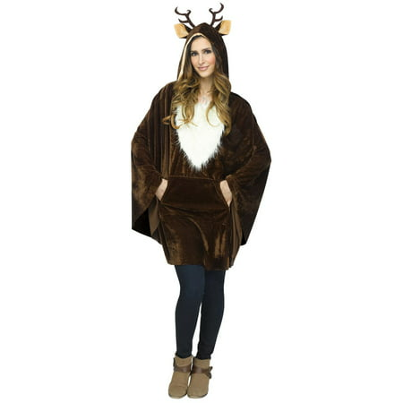 M&m Poncho Costume (Brown Poncho Halloween Reindeer Women Adult Costume Accessory - One)