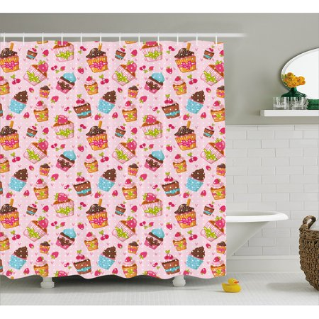 Pink Shower Curtain Kitchen Cupcakes Muffins Strawberries And Cherries Food Eating Sweets Print Fabric