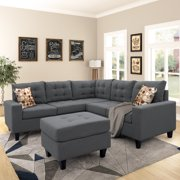 Sectioanl Sofa Set Sectional Couches for Living Room, Living Room Furniture Set, Couch Set, L Shaped Convertible Sectional Sofa with Ottoman and Reversible Chaise, Grey